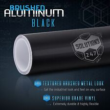 "60""x120"" Inch Black Brushed Aluminum Vinyl Wrap Sticker Decal Air Bubble Free"