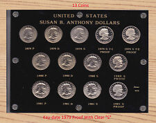 SUSAN B ANTHONY DOLLARS  13-Coin Set Capital Plastics Holder 1979 CLEAR S