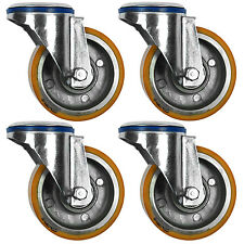 "Polyurethane Tyre, Aluminium Centre Bolt Hole Castors, 4-Pack (100MM/4"")"