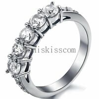 Stainless Steel Round Cubic Zirconia Ring Women's Bridal Wedding Band Size 6-9