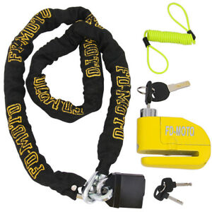 1.2m Scooter Motorcycle Motorbike Chain Lock + Alarm Brake Disc Lock +1.5m Cable