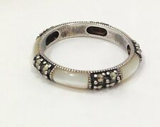Bali Style Stackable Mother of Pearl Marcasite Band Ring Size 10 Sterling Silver