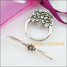 4 New Connectors Necklace Leaf Flower Round Circle Toggle Clasps Tibetan Silver