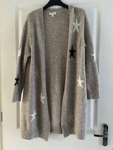 Monsoon Beige Star Print Wool Blend Longline Open Knit Cardigan UK 8-10 S