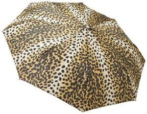 Totes Leopard Print Automatic Open And Close Compact Umbrella Medium Size NWT