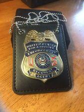 Fugitive Recovery Agent Badge MONEY & Belt Clip gold plt & leather holder chain
