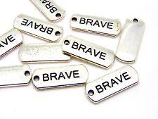 10 Pcs - 22mm Tibetan Silver Brave Tag Charms Jewellery Craft Pendants i117