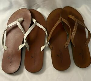 American Eagle Women's SET OF 2 Flip Flops Colors Brown and White Size 8