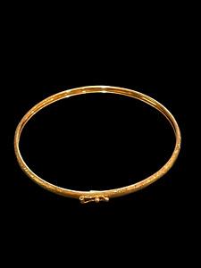 """Bolivia Etched 10KT Gold Bangle Bracelet 2.5"""" DIA 2 grams"""