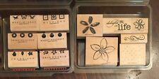 Stampin Up Retired TAKE THREE/DELIGHT IN LIFE rubber stamp sets 12 stamps flower