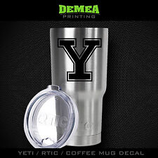 "Yale - Bulldogs - Y - 3"" DECAL/STICKER for Yeti/Rtic//Tumbler/Coffee/Wine"