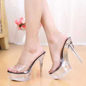 Chic Womens Open toe High Heel Stiletto Clear Transparent Slippers Sandals New