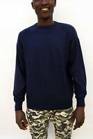Conte of Florence Jumper mens Dark Blue Knitted Crew neck Wool Italy L Large