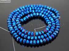 Hematite Gemstone Rondelle Spacer Beads 16'' 2mm 3mm 4mm 6mm 8mm Smooth Faceted