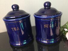 SSI Cobalt Blue Ironstone TEA SUGAR Storage Container Jars Gold Rim Tins Kitchen