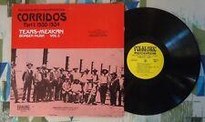 Texas Mexican Border Music Vol 2 VA LP 1930-1934 Corridos  VG++/VG++