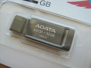 ADATA 32GB USB 3.1 Flash Drive UV131 metallic zinc-alloy case disk Chromium Grey