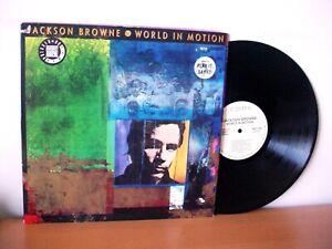 "JACKSON BROWNE ""World In Motion"" WHITE LABEL PROMO LP 1989 (ELEKTRA 9 60830)"
