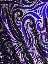 Purple Psychedelic Hologram Design 2 Way stretch Spandex -sold by the yard .