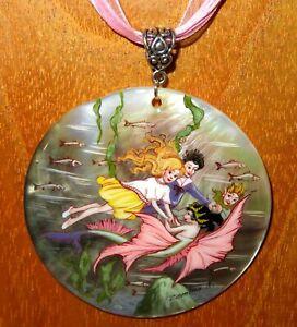 Pendant Fairy & Mermaid Florence Mary Anderson Fairies hand painted SHELL Zemina