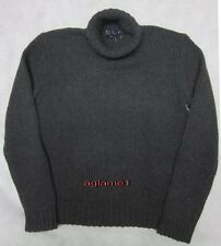 Rare Thick New POLO RALPH LAUREN 100% cashmere SWEATER Turtleneck Mock Gray M
