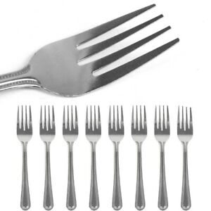 12x STAINLESS STEEL FORKS Pastry Dessert Cake Food Kitchen Silver Cutlery Set