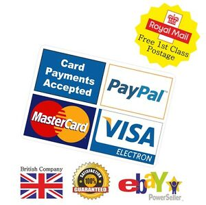 Printed Card Payment Sticker Shop Taxi Business 4 Images