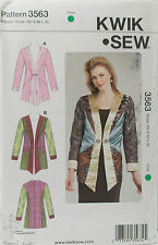 KwikSew Pattern #3563 Misses Semi-Fitted Jackets Size (XS-S-M-L-XL)