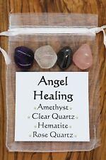 Angel Healing Crystal Gift Set Clear Quartz Amethyst Hematite Rose Quartz Love