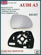 FITS AUDI A3 2010-2013 ASPHERIC HEATED WING MIRROR GLASS + BACKING PLATE RIGHT