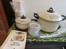 NEW 7 PIECE PASTA POT EXPRESS. 2 LIDDED, VENTED POTS, CHOPPERS. CREAM COLORED