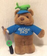 1995 Plush Creations Teddy Bear Holding Fishing Rod Reel Great Dad Fish