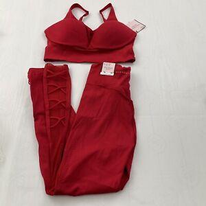 Victoria's Secret Essential Cross Trim 7/8 Legging 4 & Sports Bra 32DD Set Red