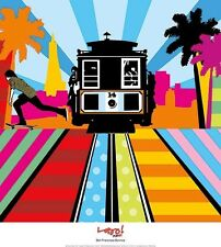 San Francisco Lobo Pop Art travel 18x20 print poster trolley California modern