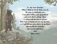 Grandpa~Grandfather~Gramps~Granddaddy~Papa Personalized Poem Gift Bear/Eagle