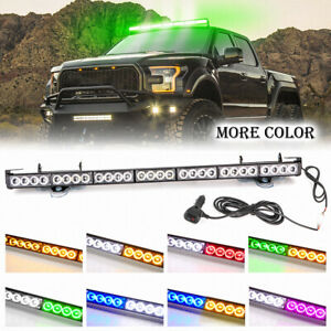 28 LED Emergency Light Bar Flash Warning Strobe Traffic Advisor Green Amber Cars