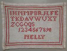 C. 1900 LOVELY ANTIQUE DUTCH RED ALPHABET SAMPLER CROSS STITCH SIGNED 'NELLY'