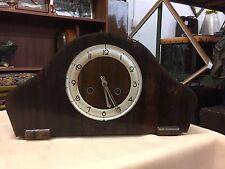 Vintage Art Deco Mantle Clock Veneer Germany Working