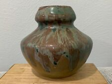 Vtg Ex Museum Studio Pottery Stoneware Copper Rutile Glaze Vase Marked Fulper