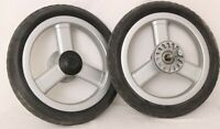 Peg-Perego Black Silver  Pair Back Wheels Stroller Replacements 10.5""