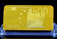 ★★★★★ MAGNIFIQUE MEDAILLE PLAQUéE OR ●  LE BILLET DE 500 EUROS ★★★★★