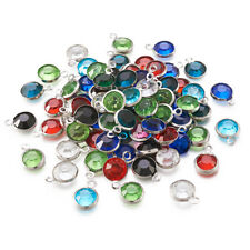 100pcs Mixed Color Stainless Steel Bezel Glass Jewelry Charms Faceted 12x8.5x4mm