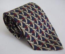 "Burberrys Navy Blue Red Gold Buckle Silk Necktie Geometric Tie 57.5"" x 3.75"""