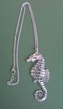 pewter pendant, seahorse design, hand made in Cornwall with surgical steel chain