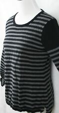 Calvin Klein Stunning Gray & Black Stripe Cotton Light Sweater SZ M EUC
