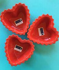 NWT! THREE Chantal RED HEART Shape Valentine Ramekin Baking Candy Dish 1.25 Cup