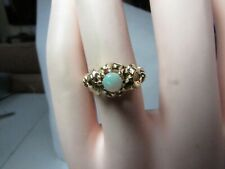 VINTAGE 14K SOLID GOLD RING W  /ROUND NATURAL OPAL