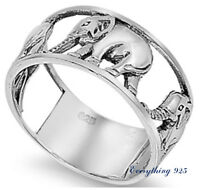 .925 Sterling Silver 10MM WALKING ELEPHANT DESIGN  SILVER RING SIZES 5-12