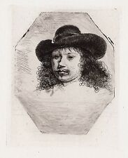 "1800s REMBRANDT Portrait Etching ""Man in a Wide Brimmed Hat"" B329 DURAND COA"