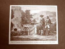 Incisione 1875 Esperimento del Marchese di Worcester Cannone e vapore acqueo
